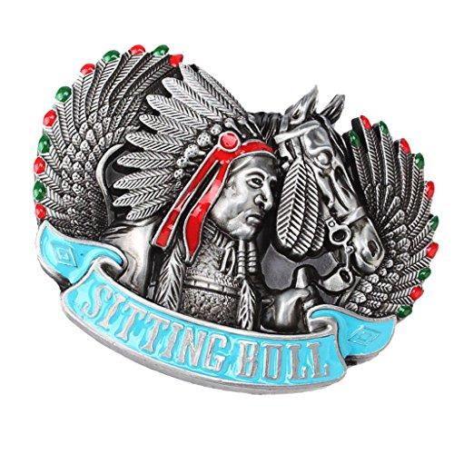 MagiDeal Hebilla de Cinturón Estilo Punk Gótico/Vaquero Occidental Accesorios para Hombre - Patrón Indio y Caballo 10 x 6.8cm