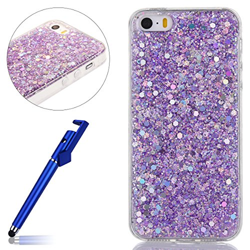 Custodia iphone 6S 4.7, Cover per iphone 6 Silicone, iphone 6S Glitter Cover, MoreChioce Moda Glitter Sparkle Bling bling Brillante Morbido 3d Gel TPU Silicone Gomma Cover Case Custodia per iphone 6 4 B-Viola