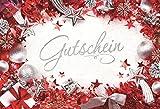 Karte Weihnachten Motiv Gutschein quer Sterne Kugeln Geschenke - Liefermenge 5 Stück