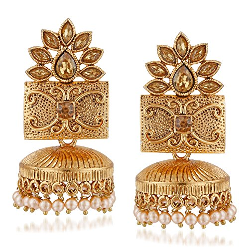 Meenaz Traditional Pearl Jewellery Gold Jhumki Party Wear Stylish Jhumka Earrings For Women Girls Jewellery Set...
