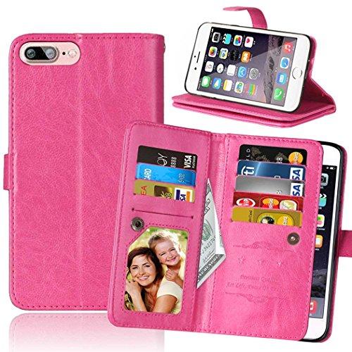 JIALUN-Telefon Fall Für IPhone 7 Plus, mit doppeltem Kartensteckplatz, magnetischer Schnalle Praktisches, flaches, offenes Telefongehäuse ( Color : Brown , Size : IPhone 7 Plus ) Pink