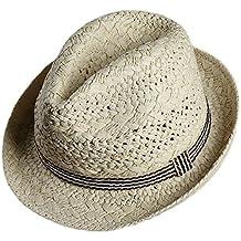 Leisial Adulte et Enfant Panama Chapeau de paille Anti-soleil Respirant  Anti UV Casquettes visières 09007c6e84f