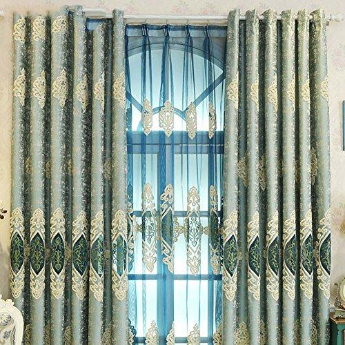 Vorhang Europäisch Caterpillar Gestickt Sonne Living room Schlafzimmer Fußboden-fenster Wind vorhänge Passender mull vorhang-A 200x270cm(79x106inch)