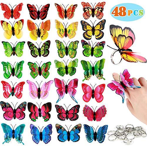 Bascolor 48Stk Schmetterling Ringe Kinder Geburtstag Mitgebsel Schmetterling Kostüm Schmuck Kindergeburtstag Gastgeschenke für Mädchen Jungen