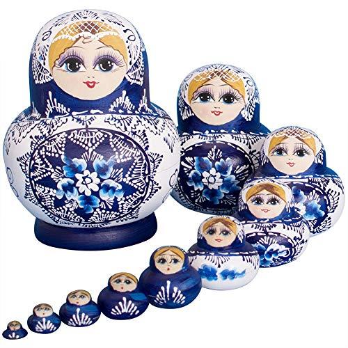 NICEWL 10 Stück Russische Nesting Dolls-Authentische Matroschka Handgefertigt, Niedliche Kleine Mädchen Stapeln Puppe Halloween Geburtstagsgeschenke