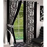 Home Pictures (Set of 4) Suprimo Kolaveri Polyester Curtains (Window-4ft X 5ft) Black