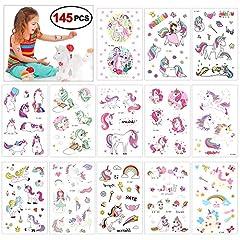 Idea Regalo - Konsait Tatuaggi Temporanei Bambini, impermeabile tatuaggio temporaneo unicorno Adesiv per regalino pensierino festa compleanno bomboniera bambini giocattoli piccoli, 145 Tatuaggi (13 fogli)