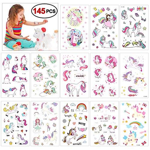 Konsait tatuaggi temporanei bambini, impermeabile tatuaggio temporaneo unicorno adesiv per regalino pensierino festa compleanno bomboniera bambini giocattoli piccoli, 145 tatuaggi (13 fogli)