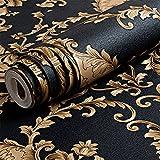 High Grade Schwarz Gold Luxus Geprägte Textur Metallic damasttapete für wand Rolle wasserdicht waschbar Vinyl PVC Tapeten