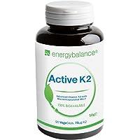 VITAMINE K2 Active Avancée MK-7 75µg | 100% Biologiquement Active All-Trans-Isomères | Végétalien | Sans Gluten | Sans OGM | 90 VegeCaps