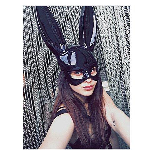 Finsink Kaninchenmaske Hasenmaske für Damen Mädchen (Schwarz (Kaninchen Maske Kunststoff)