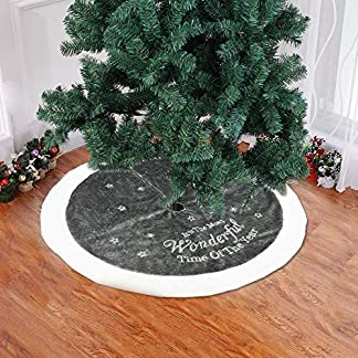 Wjf Kits de patrón 37.4in árbol de Navidad Faldas Blancas del Copo de Nieve de la Estrella de la Pana de Navidad Año Nuevo decoración de Interior Grande al Aire Libre (Gris)
