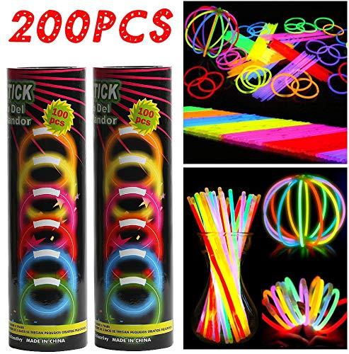 Imagen de barras luminosas, hieha 200 piezas glow sticks para fiesta 20cm 7 colores con conectores varitas luminosas fluorescentes kits para crear gafas/pulseras/collares/flores/pendientes