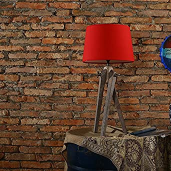 Lampe Massivholz Stoff Lampenschirm Wodurch Dreieck Wohnzimmer Schlafzimmer Nachttisch Led E27 31W 40W Ohne Licht QuelleRoter