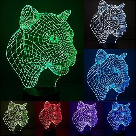 3D Lampe Optical Illusion Visuelle Led Night Light, Elsley Incroyable 7 Couleurs Changement Tactile lumières de Commutation Sensible Avec Acrylique Plat, ABS Base de Plastique, Charge USB Pour Home Decor