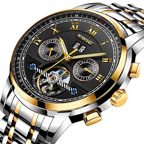 Uhren Herren, Wasserdicht Sportuhr LIGE Mode Uhren Männer Automatik Mechanisch Skeleton Luxus Elegante Einfache Uhr Lässig Edelstahl Armbanduhren Tourbillon Gold Schwarz Zifferblatt