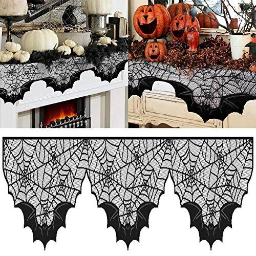 Decorazione di halloween,lenzuolo con pipistrelli,decorazione del camino,150x36 cm pizzo spiderweb bat camino mantel panno sciarpa halloween decorazioni per la casa