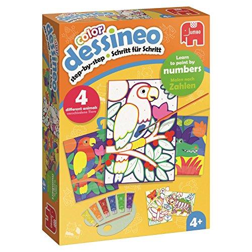 Jumbo Spiele 18624 Dessineo Color - Malen nach Zahlen - Dschungel Kinderspiel