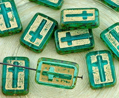 Crystal Cut Cross (2pcs Picasso Crystal Aquamarine Grün-Türkis-Gold-Rechteck Flach-Tabelle Cut Cross Religiösen Rosenkranz Kruzifix Halloween-Tschechische Glas-Perlen)