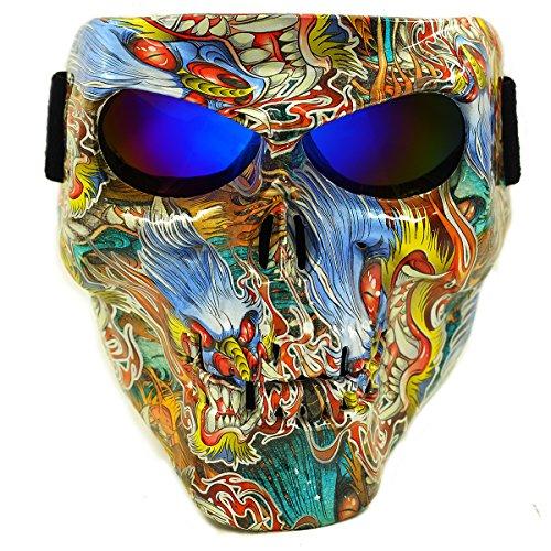 Vhccirt Moto Maschera Protettiva Con Occhiali Polarizzati Occhiali Sci Maschera Di Halloween Skull Mask, Uomo Giappone Ukiyo-e
