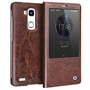 MTP Huawei Ascend Mate7 Qialino Smart Etui à Rabat en Cuir avec Vitre Tactile, Housse, Bookstyle Book Case, Coque - Marron