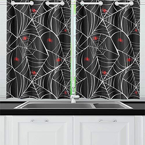 Mädchen Frau Kostüm Spider - JOCHUAN Happy Halloween Red Spider Webs Küchenvorhänge Fenster Vorhangebenen für Café Bad Wäscherei Wohnzimmer Schlafzimmer 26 * 39 Zoll 2 Stück