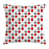 BHWYK Mid Century Throw Pillow Cushion Cover, Big Circular Spots and Oval Shapes Combined with The Figures of Geometry, Decorative Square Accent Pillow Case, 18 X 18 inches, Grey Red White
