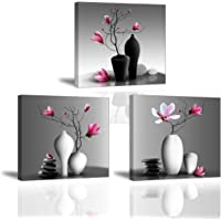 Piy Painting 3X Wandbild Leinwanddrucke Bilder Blumen Orchidee Wandbild Dekoration, Blumen Bilder auf Leinwand…
