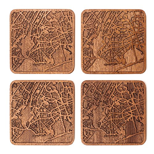 New York Map Coaster, Set Of 4, Sapele Wooden Coaster With City Map, Handmade