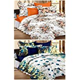 Story@Home Magic Combo 152 TC 2 Pieces Bedsheets with 4 Pillow Covers - Blue, Brown