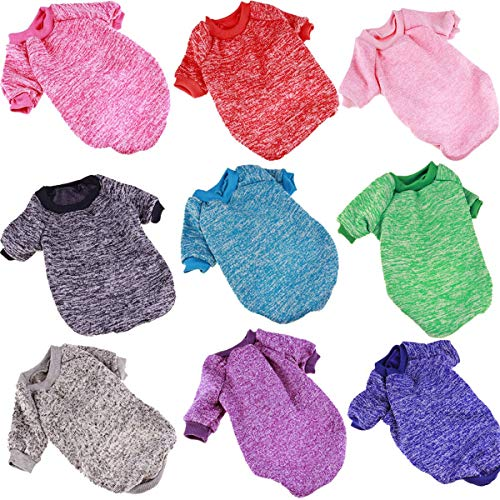 Hundewelpe Katze weiche Baumwolle warme Kleidung Kurzarm Mantel Bekleidung Pullover Pullover Strickwaren Kostüm (Color : Red, Size : L) -