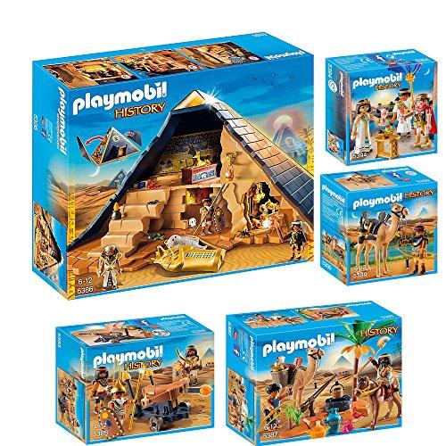 Preisvergleich Produktbild PLAYMOBIL® History 5er Set 5386 5387 5388 5389 5394 Pyramide + Grabräuber + Ägypter mit Balliste + Kamelkämpfer + Cäsar & Kleopatra