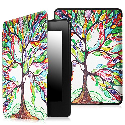 Fintie SmartShell Case for Kindle Paperwhite - The Thinnest and Lightest Cover With Auto Sleep / Wake for All-New Amazon Kindle Paperwhite (Fits All 2012, 2013, 2015 and 2016 Versions), Love Tree