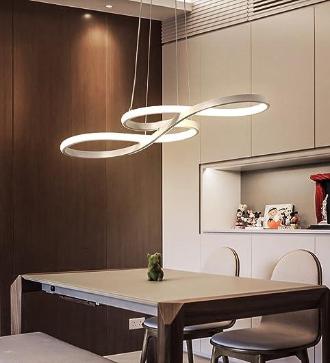 LED Dimmbare Hangeleuchte Pendelleuchte Hangelampe Modern Gebogen Design Decke Beleuchtung Leuchte Kunststoff Und Aluminium Lampe 95W Weiss Kronleuchter