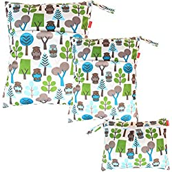 Damero Bolsa de pañales Bolso de Cambiador de Bebé Organizador para Accesorios de Bebé (3 piezas), Bosque Verde