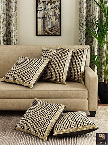 Romee Gold & Black Chenille Geometric Designed Cushion Cover 16