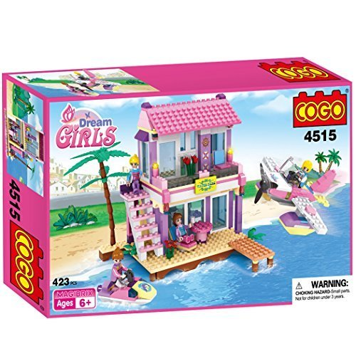 Cogo 4515 Dream Girls blocchi mattoni Friends Dreamy Beach Villa Bungalow Toys Birthday Christmas Xmas Gift for Girls Home Sweet Home Motorboat private Jets Building Blocks Bricks Play set 423 pezzi
