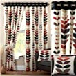 """Zest Modern Retro Solid Printed Leaf Pattern Readymade Lined Chrome Eyelet Curtains, Cream / Spice - 66"""" x 72"""""""