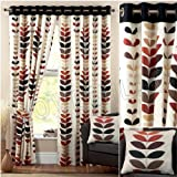 Best Leaf Curtains - Zest Modern Retro Solid Printed Leaf Pattern Readymade Review