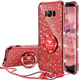 OCYCLONE Cover Samsung Galaxy S8 Plus Glitter Strass per Ragazze,Neck Strap e Kickstand Bling Silicone Diamante Brillante Cristallo Lucciante Luminosa Custodia per Samsung Galaxy S8-Rosso