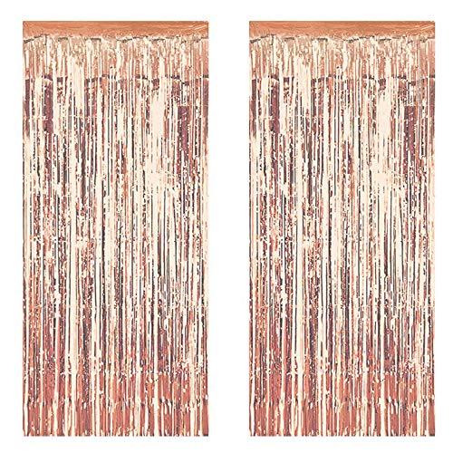Deer Platz 2 Pack Metallic Lametta Vorhänge, 3,3 ft × 6,6 ft Folie Fringe Vorhang Hintergrund, für Geburtstag, Hochzeit, Baby-Dusche-Dekoration (Champagner Gold) (Vorhang Metallic Dusche)
