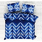 Pure Cotton Handmade Ethnic Bedcover Bedspread Hippie Bohemian Indian Hand Tie Dye Shibori Printed Double Size Bed Throw Bedding Bedsheet With 2 PC Pillow Cover By Handicraft-Palace