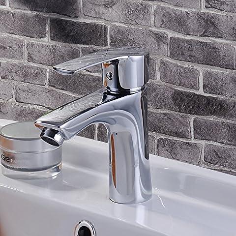 Rubinetteria lavandino bagno Semplice, in ottone, bicromato di potassio placcato, calda e fredda, singolo foro rubinetto cucina Miscelatore lavabo