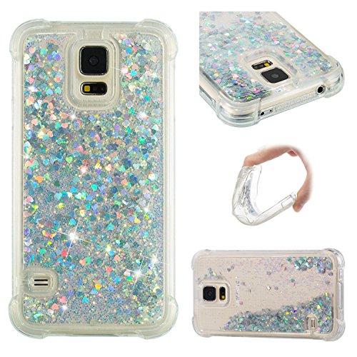 Funluna Samsung Galaxy S5 Hülle, Flüssig Bling Dynamisch Treibsand 3D Fließen Herz Glitzer Case Anti-Rutsch Kratzfest Transparent Silikon Schutzülle Schale für Samsung Galaxy S5 - Silber