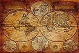 time4-charms Art antico mappa del mondo antico mappa stampa su tela montata su telaio, varie dimensioni (120x 60cm)