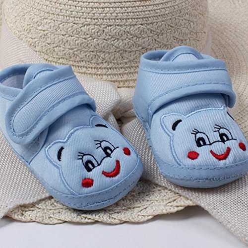Babyschuhe Longra Baby Mädchen Jungen Soft Sole Cartoon Krippeschuhe Anti-Rutsch Stoff Schuhe Kleinkind Lauflernschuhe(0-18Monate) Blue