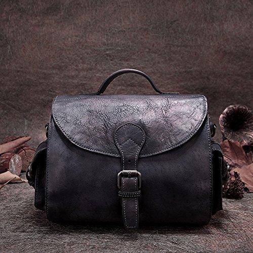 Vintage chers nouveaux sacs bandoulière épaule la première couche d'art fait main original en cuir Gray