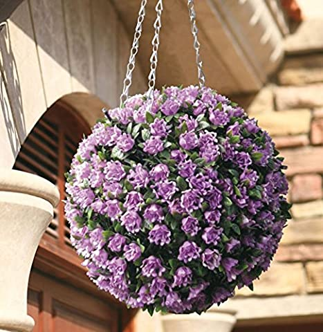 iMustbuy 28cm Purple Rose Flower Solar Powered Topiary Ball with 20 LED Lights Garden Hanging