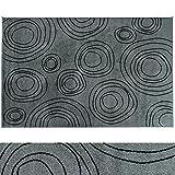 Design Teppich Circles | moderner Wohnzimmerteppich mit Trend Kreis Muster | in 2 Größen für Wohnzimmer, Esszimmer, Schlafzimmer etc. | dunkelgrau 120x170 cm