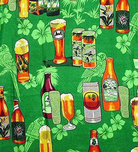 Funky Camisa Hawaiana, Beerbottle, verde, L
